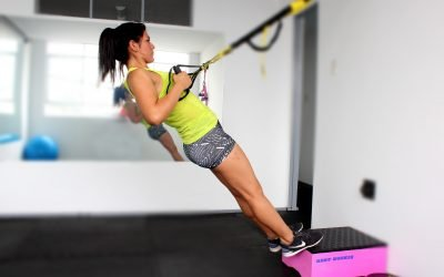 TRX exercises: triceps extension, one-leg squat, and plank-to-pike